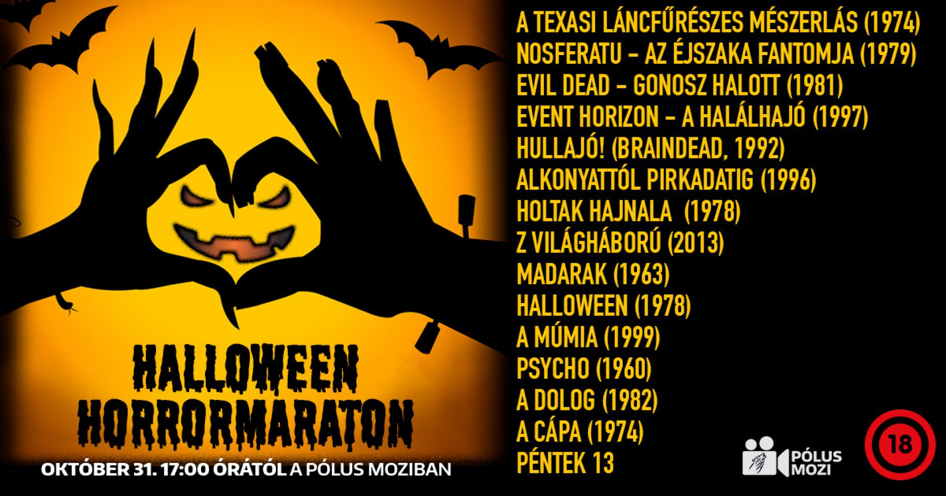 Horrormaraton Halloween éjszakáján a Pólus Moziban